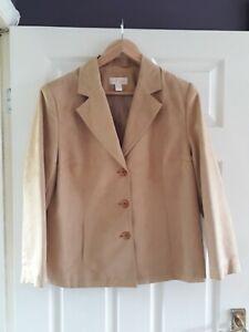 Vintage Fair Lady Faux Suede Jacket Size 16 Camel Beige Buttons Pocket Lined
