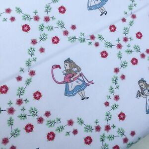 Alice in Wonderland Disney white Lewis Carroll 100% cotton fabric X HALF METRE