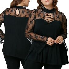 New Absolutley Gorgeous Black Top With Lace Bodice Plus Size 16/2XL (1344)QH