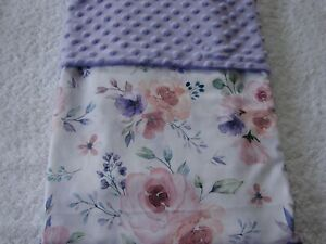Pink & Lilac Flowers Cotton Front Lilac Minky Reversible Baby Blanket Handmade