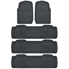 4 Row Rubber Floor Mats & Liners Set in Black - HEAVY DUTY All Weather Tough