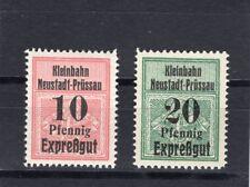 Eisenbahnmarken Neustadt-Prüssau-Rieben-Gotend. Pommern  2** W. 1908 kpl. (E-95)