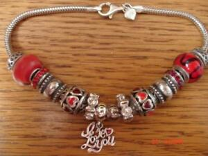 KAY JEWELERS CHARMED MEMORIES RED BRACELET W/ 12 CHARMS & BEADS STERLING SILVER
