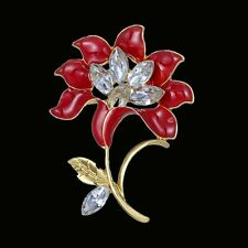 Elegant Rose Flower Crystal Wedding Bridal Bouquet Brooch Pin Women Jewelry New