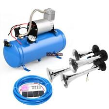 4 Trumpet air horn 12V Compressor kit blue tank gauge for car train truck USA##