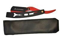 Red Straight Edge Barber Shaving Razor with Free Case - Shape up folding knife