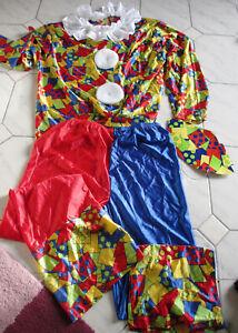 Karnevalls Kostüm Faschingskostüm Clown Hemd Hose Pappkappe Größe M neu