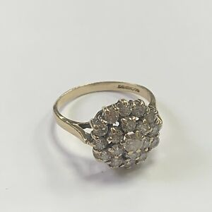 9ct Yellow Gold Cubic Zirconia Cluster Ring Size L
