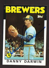 Danny Darwin--1986 Autographed Topps Baseball Card--Milwaukee Brewers