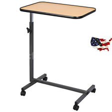 US Overbed Laptop Food Tray Table Rolling Desk Hospital Over Bed W/Tilting Top