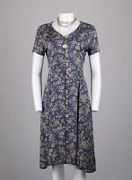 True Vintage 90s Floral Sprays Dusky Blue Button Down Midi Dress 12