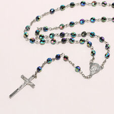 Fashion Women Rainbow Beads Chain Necklace Cross Pendant Resin Totem Jewelry