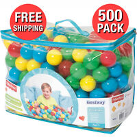 Play Balls 500 Piece 4 Assorted Color Ball Pit Smooth Seam Reusable Zippered Bag