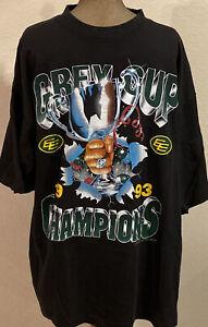 RARE! 90's Vintage Edmonton Eskimos T SHIRT Grey Cup CFL Football EE Size XL
