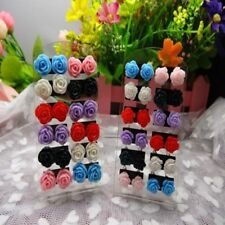 Acrylic Cheap Mixed Color Nickel Earring 12 Pairs Resin Rose Flower Ear Studs