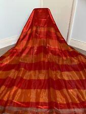 Jeff Banks 'Sunset Red & Orange Striped Organza/Taffeta Lined Curtain 90w x 72l