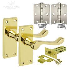 Polished Brass Door Handles Pack Internal Scroll Handles, Latch & Hinges NEW