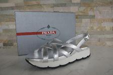 PRADA Gr 38,5 Sandalen Sandals 3X6170 Schuhe silber + weiss NEU ehem UVP 450 €