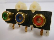 QTY 10 RCA Style Gold Connector (Red/Blue/Green) Jacks Right Angle PCB Type