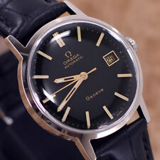 VINTAGE MEN'S OMEGA GENEVE AUTOMATIC CAL.1481 DATE DRESS WATCH LEATHER BAND
