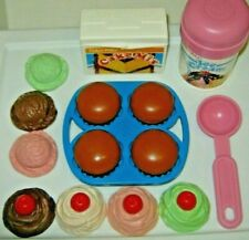 VTG Fisher Price CUPCAKES muffins & ICE CREAM scoops BAKING FUN Play food LOT #1