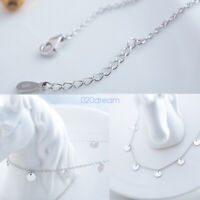 Fashion 925 Sterling Silver Pendant Chain Necklace Circles Style Women Jewelry