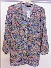 Pretty watercolours SELECT floaty Blouse Size 12. Polyester. 70cm Long. BNWTO.