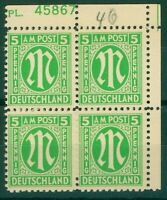Germany Allied Military Post 1945 5pf green sgA3 marginal block of 4 UM Stamps