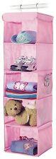Home Storage 5 Shelf Organizer Closet Kids Girls Toys Clothing Hook Hanger Pink