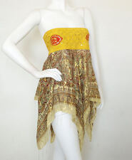 L101 Yellow Hippie Gypsy Embroidered Lurex Shimmering Blouse Top / Skirt - S & M