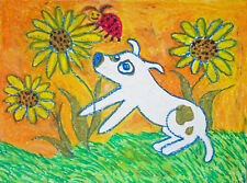 American Pit Bull Terrier Sunflowers Dog Pop Folk Art 8 x 10 Giclee Print Ksams