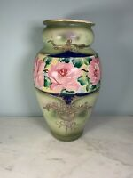 Antique Nippon Moriage Vase Celadon green w pink Roses Hand Painted gold accents