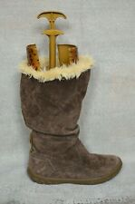 VGC CATERPILLAR CAT Ladies' brown suede mid calf fur boots UK 7 40