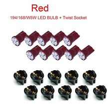 10x T10 W5W Red LED Dash Light Bulb Twist Lock Socket Wedge Instrument Panel PA