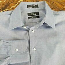 Saks Fifth Avenue Black Men's Medium Slim Fit Blue Long Sleeve Dress Shirt