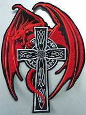 Embroidered Celtic Cross Dragon Patch