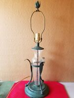 "Greek Revival Metal And Blown Glass 27"" Lamp"