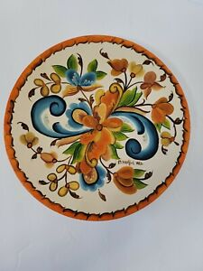 """Hand Painted Rosemaling Wood Plate 8"""" Signed And Dated 1982 Floral Wall Hanging"""