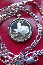 """900 SILVER PROOF TEXAS USA Quarter Pendant on 20"""" Wide ITALY .925 Silver Chain."""