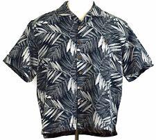 St Johns Bay Mens XL Black Gray Leaf Print Button Front Short Sleeve Camp Shirt