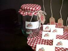 12 Jam Jar Covers with Matching Gift Tags and Labels