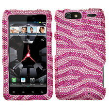For Motorola DROID RAZR MAXX Crystal Diamond BLING Case Phone Cover Pink Zebra