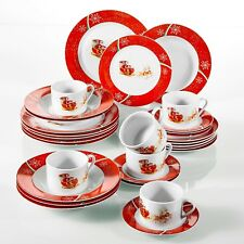 VEWEET CHRISTMASDEER 30PCS PORCELAIN DINNER SET SANTA PLATE CHRISTMAS GIFT RED