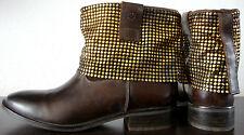 ILC Damen Stiefellette Ankle Boots Stiefel Leder Halbstiefel Braun Gr.40 NEU