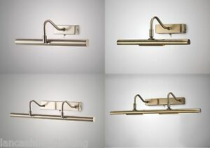 Range of Switched Satin Silver & Antique Brass Picture Light - Halogen or LED