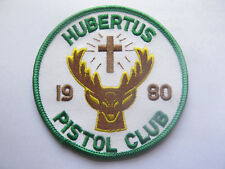 HUBERTUS PISTOL CLUB CLOTH BADGE 1980 with STAG PICTURED