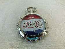 PEPSI COLA POCKET WATCH BOTTLE CAP LOGO RED WHITE BLUE  V-121 ADVERTISING