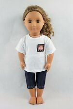 For 18''American Girl Doll Clothes The Union Flag Pattern T-shirt & Jeans Gifts