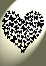 Shabby Chic Plastic Stencil Butterfly hearts Vintage A4 297x210mm Damask Wall