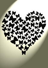 Shabby Chic in plastica Stencil a farfalla Cuori VINTAGE a4 297x210mm Muro damascato